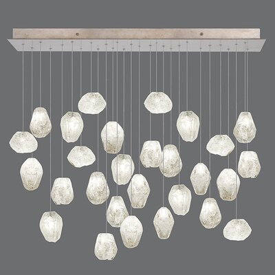 Natural Inspirations 28-Light Pendant Finish: Gold Toned Silver, Shade Color: Clear