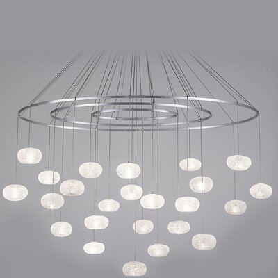 Natural Inspirations 24-Light Waterfall Chandelier Finish: Platinized Silver