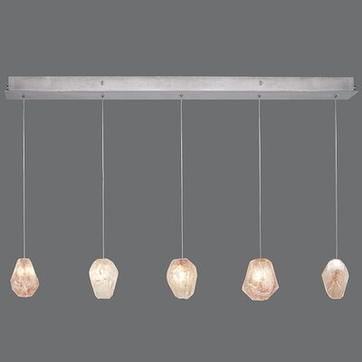 Natural Inspirations 5-Light Kitchen Island Pendant Finish: Platinized Silver, Shade Color: Natural