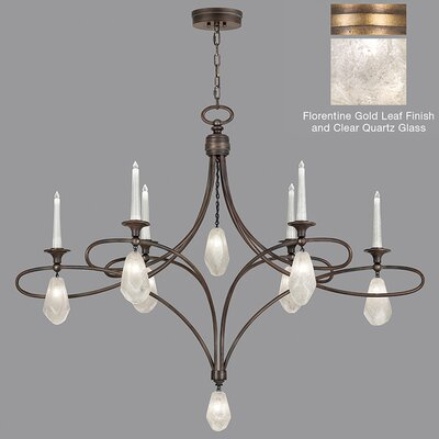 Quartz and Iron 6-Light Candle-Style Chandelier Shade Color: Clear, Finish: Gold