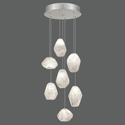 Natural Inspirations 7-Light Cluster Pendant Finish: Platinized Silver, Shade Color: Clear
