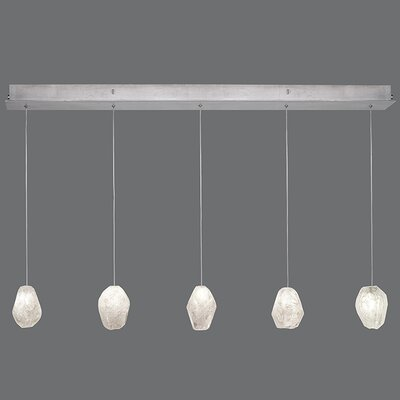 Natural Inspirations 5-Light Kitchen Island Pendant Finish: Platinized Silver, Shade Color: Clear
