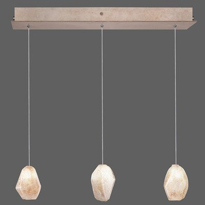 Natural Inspirations 3-Light Kitchen Island Pendant Finish: Gold Toned Silver, Shade Color: Natural