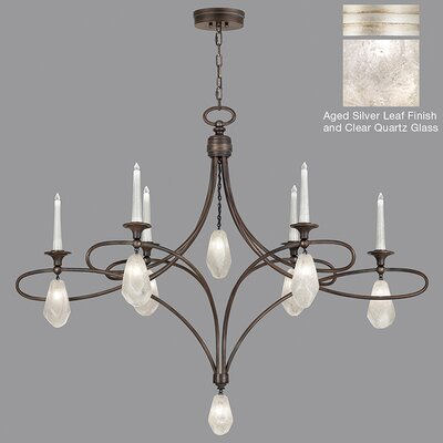 Quartz and Iron 6-Light Candle-Style Chandelier Finish: Silver, Shade Color: Clear