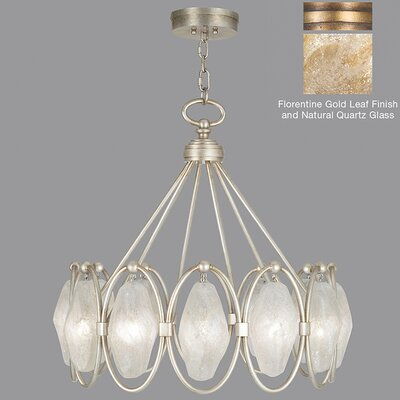 Quartz and Iron 12-Light Pendant Finish: Florentine Gold, Shade Color: Natural