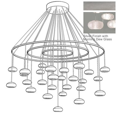 Natural Inspirations 27-Light Candle-Style Chandelier Finish: Platinized Silver