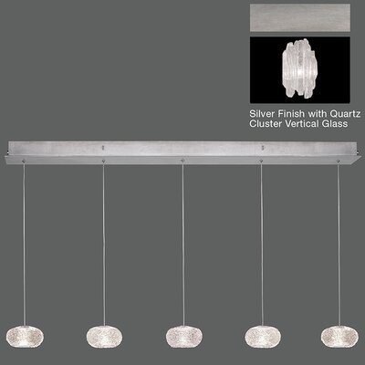 Natural Inspirations 5-Light Kitchen Island Pendant Finish: Platinized Silver
