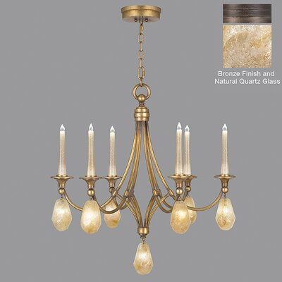 Quartz and Iron 6-Light Candle-Style Chandelier Shade Color: Natural, Finish: Bronze