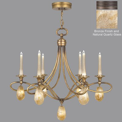 Quartz and Iron 6-Light LED Candle-Style Chandelier Finish: Bronze, Shade Color: Natural