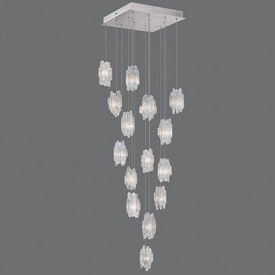 Natural Inspirations 15-Light Cascade Pendant Finish: Platinized Silver