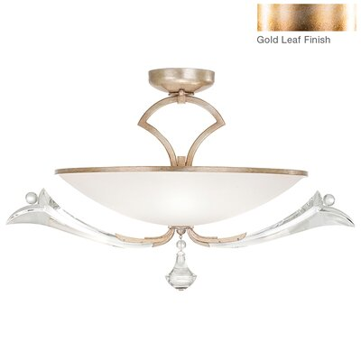 Ice Sculpture 3-Light Semi-Flush Mount Finish: Gold