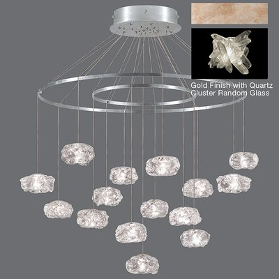 Natural Inspirations 15-Light Waterfall Chandelier Finish: Gold Toned Silver