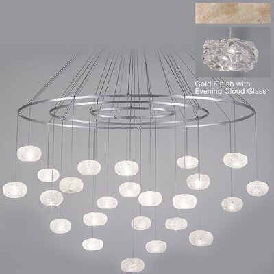 Natural Inspirations 24-Light Waterfall Chandelier Finish: Gold Toned Silver