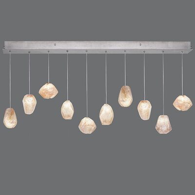 Natural Inspirations 10-Light Kitchen Island Pendant Finish: Platinized Silver, Shade Color: Natural