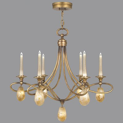 Quartz and Iron 6-Light LED Candle-Style Chandelier Finish: Florentine Gold, Shade Color: Natural