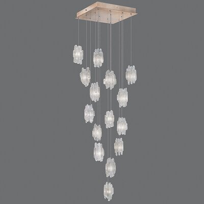 Natural Inspirations 15-Light Cascade Pendant Finish: Gold Toned Silver