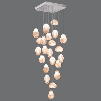 Natural Inspirations 22-Light Cascade Pendant Finish: Platinized Silver, Shade Color: Natural