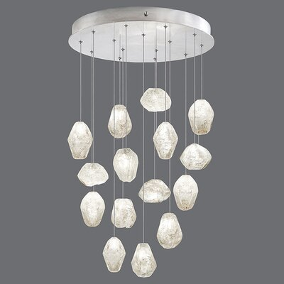Natural Inspirations 15-Light Cascade Pendant Finish: Platinized Silver