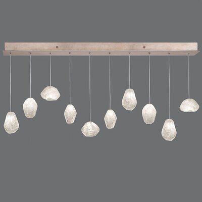 Natural Inspirations 10-Light Kitchen Island Pendant Finish: Gold Toned Silver, Shade Color: Clear