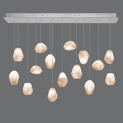 Natural Inspirations 15-Light Kitchen Island Pendant Finish: Platinized Silver, Shade Color: Natural