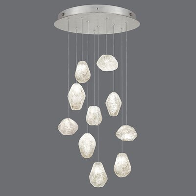Natural Inspirations 10-Light Cluster Pendant Finish: Platinized Silver, Shade Color: Clear