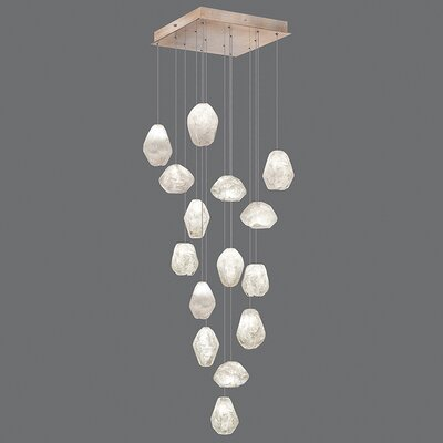 Natural Inspirations 15-Light Cluster Pendant Finish: Gold Toned Silver, Shade Color: Clear
