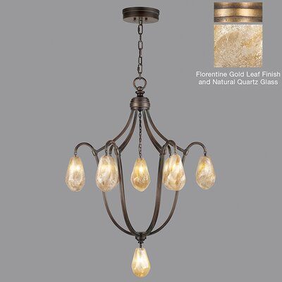 Quartz and Iron 8-Light Cluster Pendant Finish: Florentine Gold, Shade Color: Natural