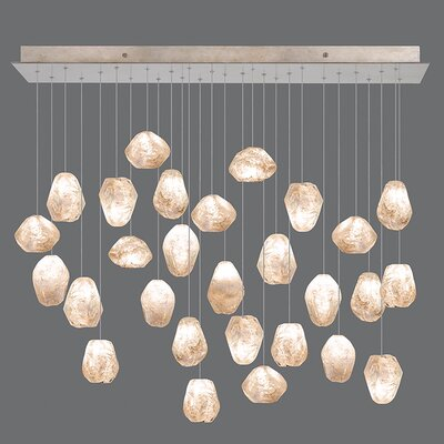 Natural Inspirations Cluster Pendant Finish: Gold Toned Silver, Shade Color: Natural
