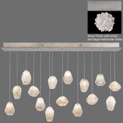 Natural Inspirations 15-Light Kitchen Island Pendant Finish: Platinized Silver