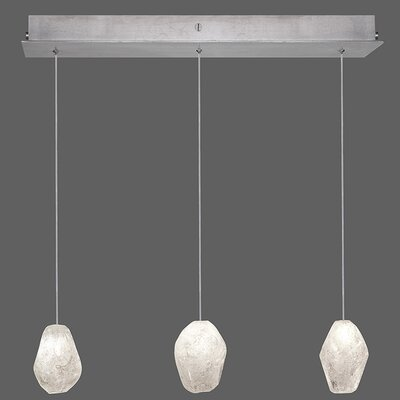 Natural Inspirations 3-Light Kitchen Island Pendant Finish: Platinized Silver, Shade Color: Clear