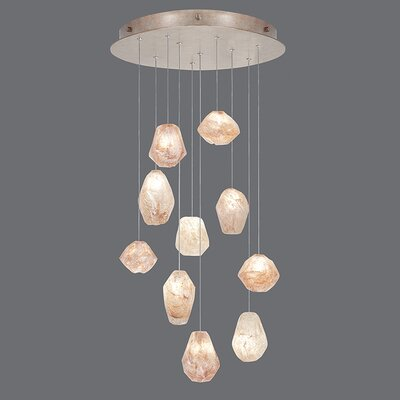 Natural Inspirations 10-Light Pendant Finish: Gold Toned Silver, Shade Color: Natural