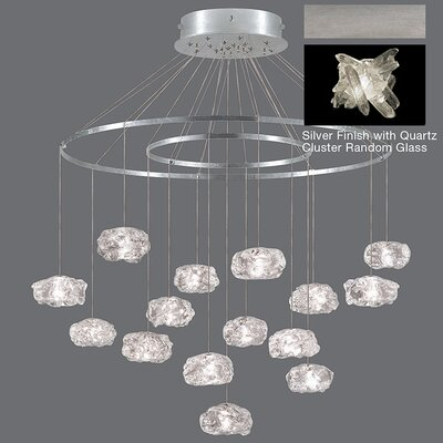 Natural Inspirations 15-Light Waterfall Chandelier Finish: Platinized Silver