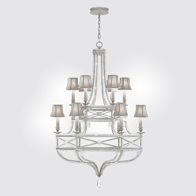 Prussian Neoclassic 12-Light Shaded Chandelier Finish: Silver Gray