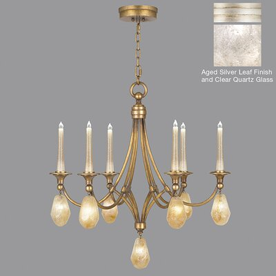 Quartz and Iron 6-Light Candle-Style Chandelier Finish: Aged Silver, Shade Color: Clear