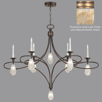 Quartz and Iron 6-Light Candle-Style Chandelier Finish: Gold, Shade Color: Natural
