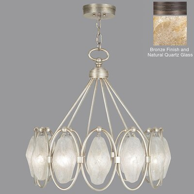 Quartz and Iron 12-Light Pendant Shade Color: Natural, Finish: Bronze