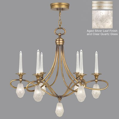 Quartz and Iron 6-Light LED Candle-Style Chandelier Finish: Aged Silver, Shade Color: Clear