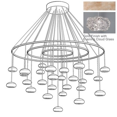 Natural Inspirations 27-Light Waterfall Chandelier Finish: Gold Toned Silver