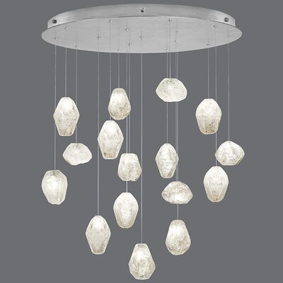 Natural Inspirations 16-Light Cluster Pendant Finish: Platinized Silver, Shade Color: Clear
