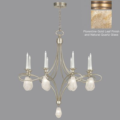 Quartz and Iron 8-Light Candle-Style Chandelier Finish: Gold, Shade Color: Natural