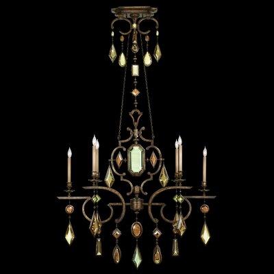 Encased Gems 6-Light Candle-Style Chandelier Crystal: Multicolor