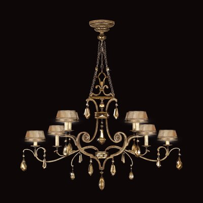 Golden Aura 8-Light Shaded Chandelier