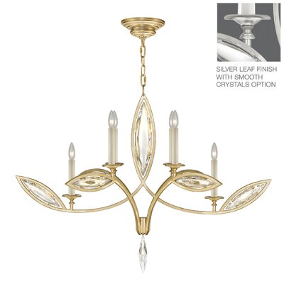 Marquise 6-Light Candle-Style Chandelier Finish: Platinized Silver