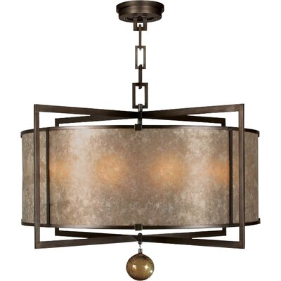 Singapore Moderne 8-Light Drum Pendant Finish: Brown Patinated Bronze