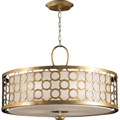 Allegretto Silver 3-Light Drum Pendant Finish: Burnished Gold Leaf