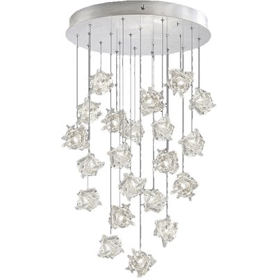 Natural Inspirations 22-Light Cascade Pendant Finish: Platinized Silver