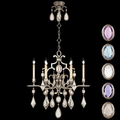 Encased Gems 6-Light Candle-Style Chandelier Crystal: Multicolor, Finish: Vintage Silver Leaf