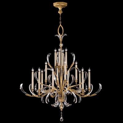 Beveled Arcs 16-Light Candle-Style Chandelier Finish: Gold