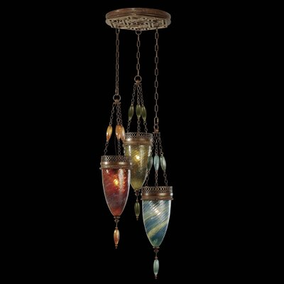 Scheherazade 3-Light Cluster Pendant Shade Color: Amber Dunes, Desert Sky Blue, and Oasis Green