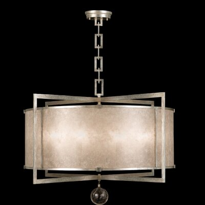 Singapore Moderne 8-Light Drum Pendant Finish: Muted Silver Leaf